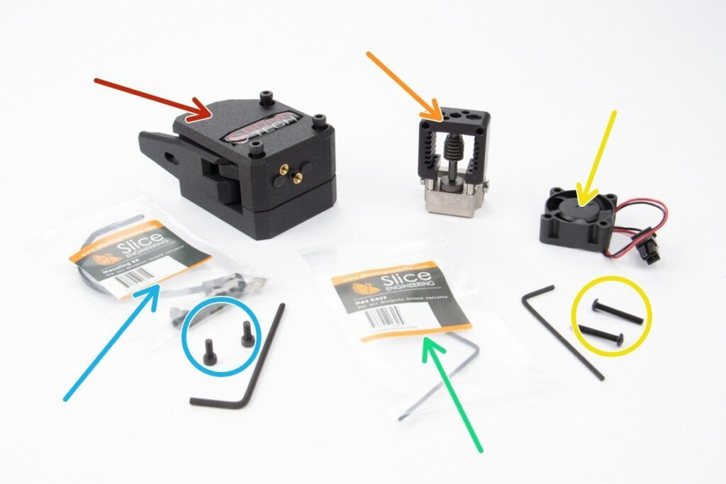 Alle benötigten Teile und Werkzeuge, um das Mosquito Hotend mit dem BMG-M zu verbinden