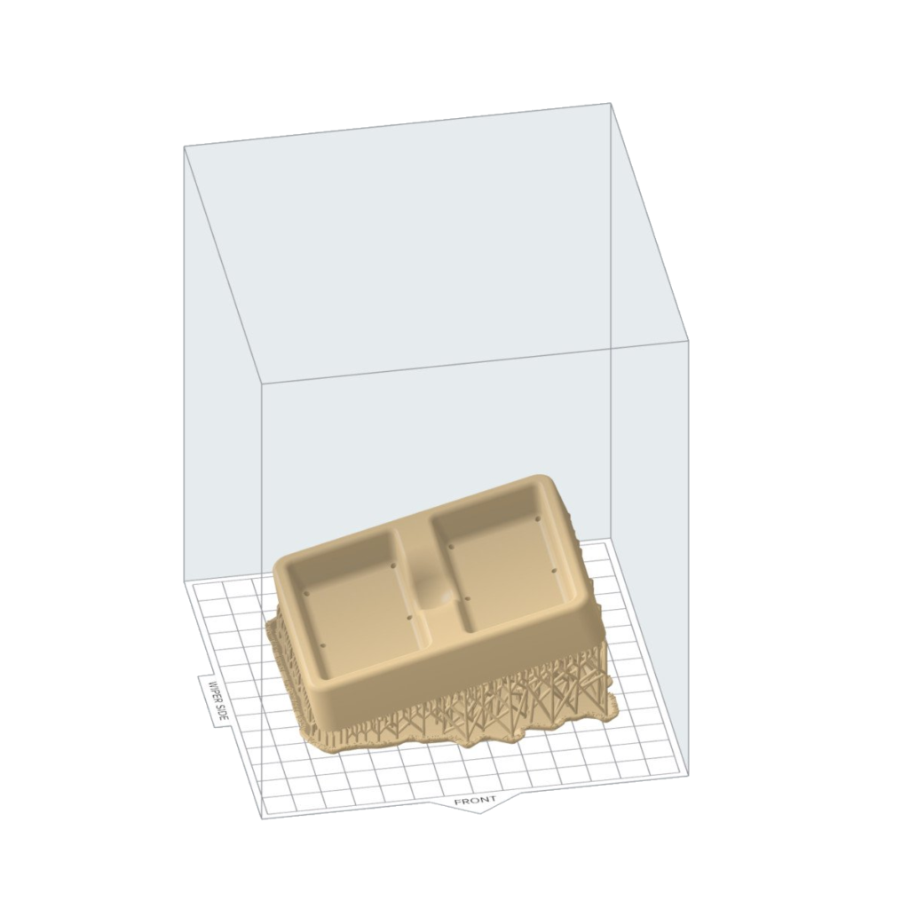Vorschau Form mit Stützstrukturen an der Unterseite