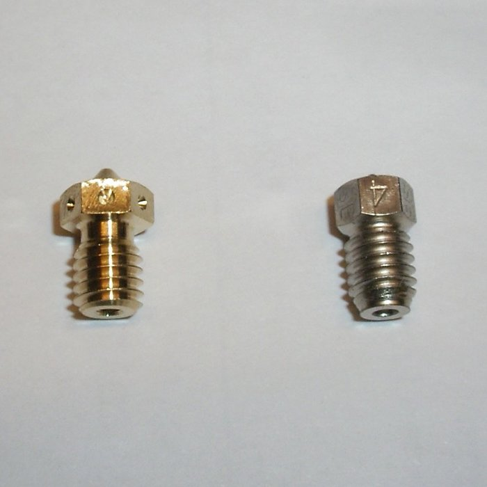 Mosquito Vanadiumcarbid Stahl Nozzle vs. e3D v6 Nozzle